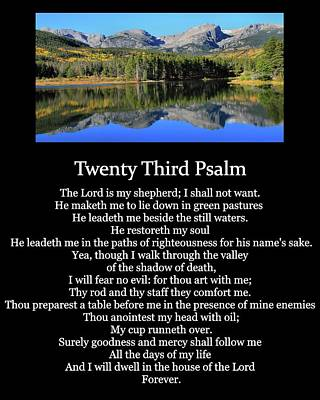 Psalm 23 Mountain Reflection Poster by Dan Sproul