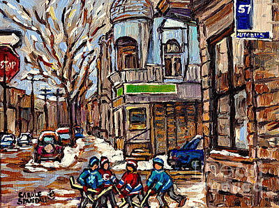 Psc Winter Street 57 Bus Stop Hockey Fun Connie's Pizza Original Canadian Painting Carole Spandau Poster by Carole Spandau