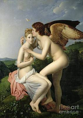 Psyche Receiving The First Kiss Of Cupid Poster by Gerard