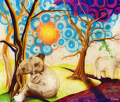 Poster featuring the drawing Psychedelic Elephants by Shawna Rowe