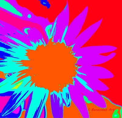 Psychedelic Sunflower Poster