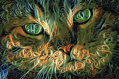Psychedelic Tabby Cat Art Poster by Peggy Collins