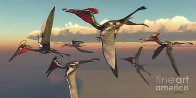 Pterodactylus Pterosaurs In Flight Poster by Corey Ford