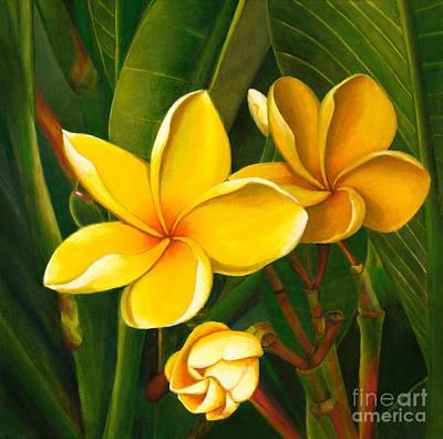 Puamelia Mele - Yellow Plumerias Poster by Pati O'Neal