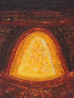 Pueblo Kiva Fireplace Original Painting Poster by Sol Luckman