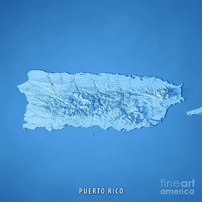 Puerto Rico 3d Render Topographic Map Blue Poster
