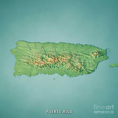 Puerto Rico 3d Render Topographic Map Poster