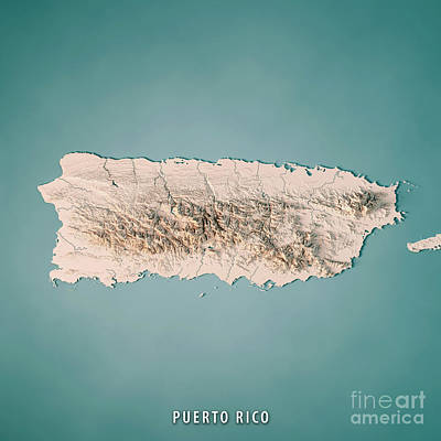 Puerto Rico 3d Render Topographic Map Neutral Poster