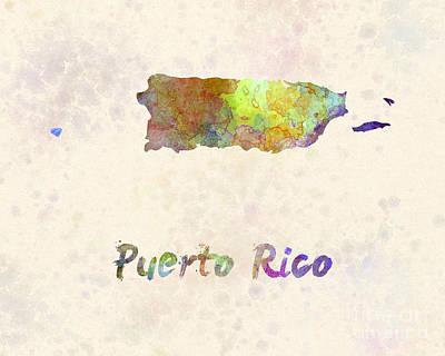 Puerto Rico  In Watercolor Poster
