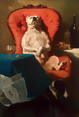 Pug Dog In An Armchair  Poster