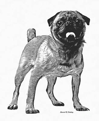Pug Dog Standing Graphic Poster by Edward Fielding