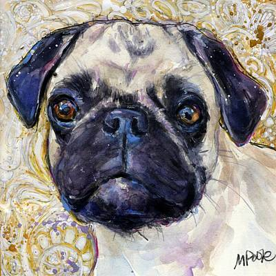 Poster featuring the painting Pug Mug by Molly Poole