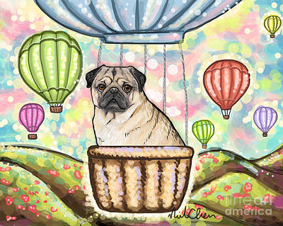 Pug On Hot Air Balloon Poster