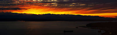 Puget Sound Olympic Mountains Sunset Poster by Mike Reid