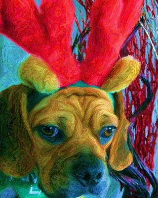 Poster featuring the photograph Puggle Holiday by Susan Carella