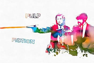 Pulp Fiction Watercolor Paint Splatter Poster by Dan Sproul