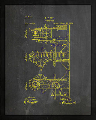 Pump Motor Patent Drawing 1b Poster by Brian Reaves