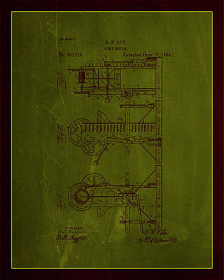 Pump Motor Patent Drawing 1e Poster by Brian Reaves