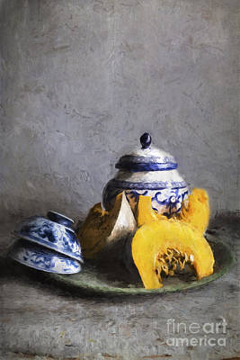 Pumpkin And Blue And White China Poster by Elena Nosyreva