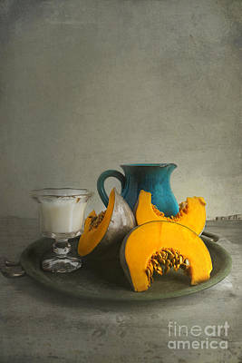 Pumpkin And Blue Jar Poster by Elena Nosyreva