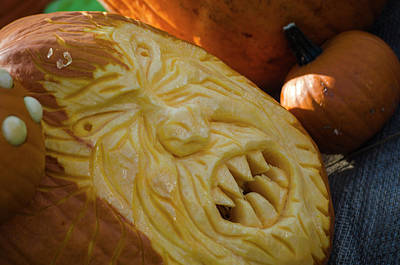 Pumpkin Carving Angry Face Poster by Randy J Heath