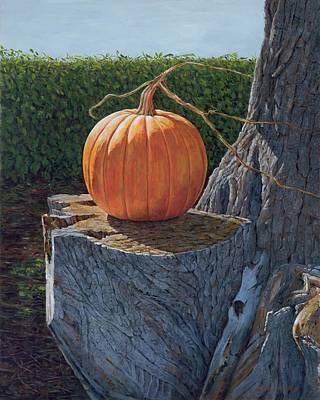 Pumpkin On A Dead Willow Poster