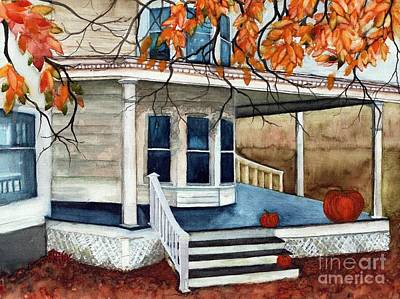 Pumpkin Porch - Halloween House Poster by Janine Riley