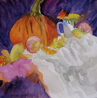 Poster featuring the painting Pumpkin Still Life by Beverley Harper Tinsley