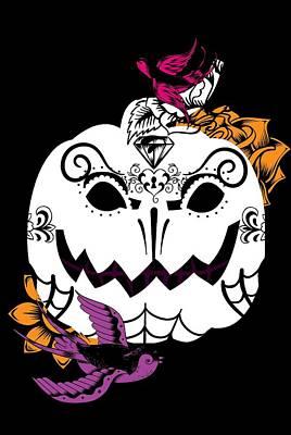 Pumpkin Sugar Skull  Poster by Chastity Hoff