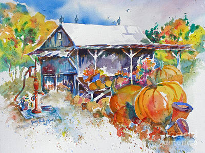 Poster featuring the painting Pumpkin Time by Mary Haley-Rocks