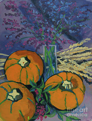 Poster featuring the painting Pumpkins And Wheat by Erin Fickert-Rowland