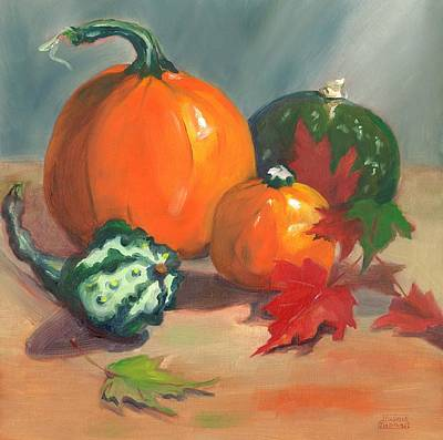 Poster featuring the painting Pumpkins by Susan Thomas