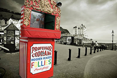 Punch And Judy Theatre On Llandudno Promenade Poster by Mal Bray
