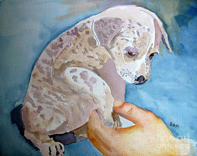 Puppy Shaking Hands Poster by Sandy McIntire