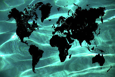 Pure Ocean World Map Poster by Jenny Rainbow