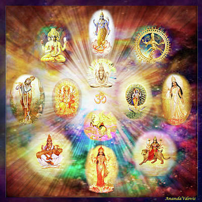 Purnamida Purnamidam - One Divine Source For All Gods And Goddesses Poster by Ananda Vdovic