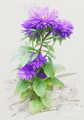 Poster featuring the painting Purple Aster by Ivana
