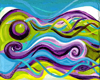 Purple Blue And Green Waves Poster by Genevieve Esson