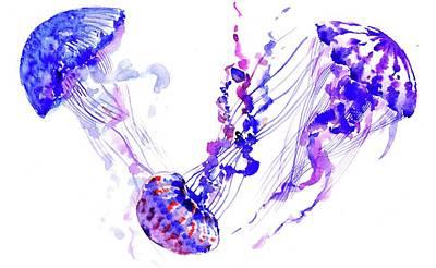 Purple Blue Jellyfish Poster by Suren Nersisyan