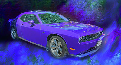 Purple Car - Challenger Poster by Nikolyn McDonald