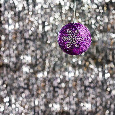 Poster featuring the photograph Purple Christmas Bauble  by Ulrich Schade