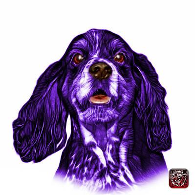 Purple Cocker Spaniel Pop Art - 8249 - Wb Poster by James Ahn