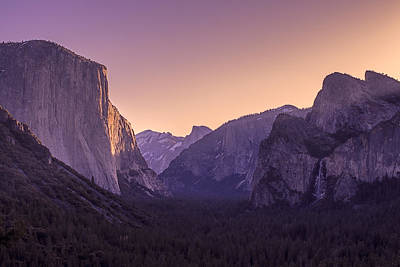 Purple Dawn At Yosemite Tunnel View Poster by Priya Ghose
