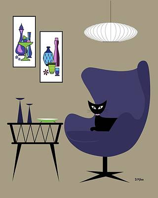 Purple Egg Chair With Gravel Art Poster