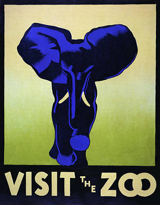 Purple Elephants At The Zoo  W P A ........ C. 1936 Poster by Daniel Hagerman