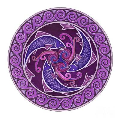 Purple Fish Spiral Mandala Poster by Rebecca Wang
