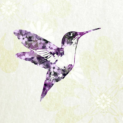 Purple Floral Hummingbird Art Poster