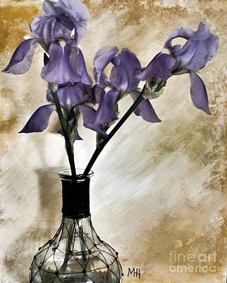 Purple Flowers In A Vase Poster by Marsha Heiken