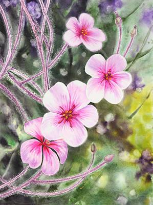 Poster featuring the painting Purple Flowers In Golden Gate Park San Francisco by Irina Sztukowski