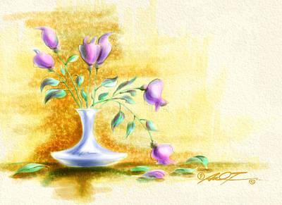 Purple Flowers In Vase Poster